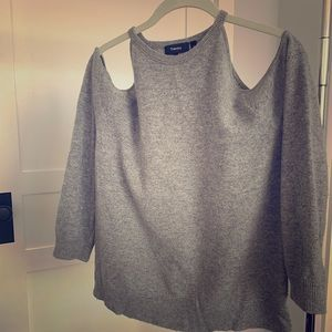 Theory Cut-out Shoulder Gray Cashmere Sweater
